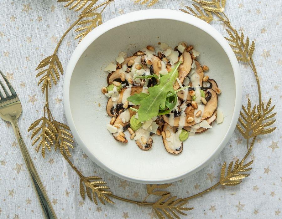 Portobello Carpaccio mit Trüffel-Sojasauce